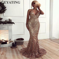 Gold Sequin Backless Prom Dresses Mermaid 2019 Long Spaghetti Straps
