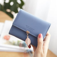 New Women PU leather Leaf Short Wallet Female Coin Purse Fashion Purse Money Bag Vintage Card Holders Womens Small Wallets