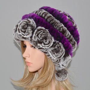 Hot Sale Winter Women Flowers Striped Natural Real Rex Rabbit Fur Hats Lady Warm Knit Genuine Fur Caps Russian Outdoor Fur Hats