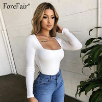 Forefair Women Body Top Skinny Sexy Bodysuit Autumn Winter 2018 Ladies Black Red White Slim Square Collar Long Sleeve Bodysuit
