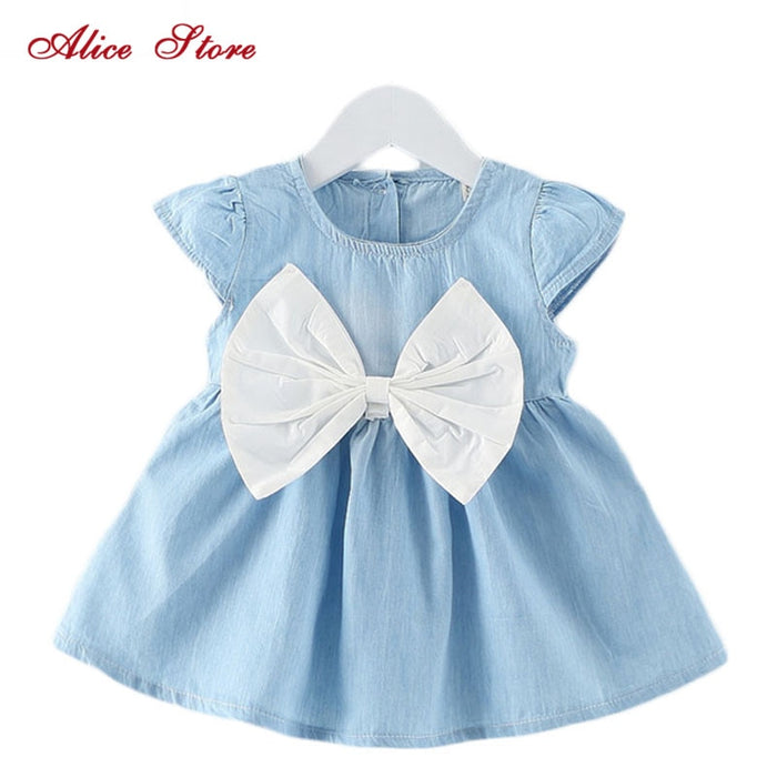 Alice Baby Girls Bow-knot Design Mini Dress Children Baby Summer Style Fashion Short Sleeve Party Dress Kids Clothes