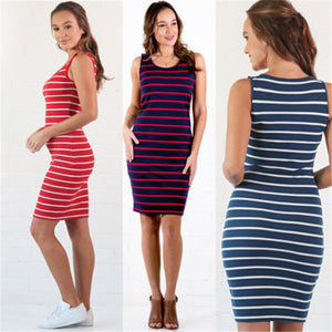 2019 Fashion Maternity Striped Dresses Women Nursing Breastfeeding Sleeveless