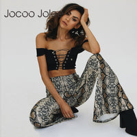 Jocoo Jolee Autumn Casual Elastic Waist Trousers Snake Skin Print Wide Leg Pants for Women Sexy Party Club Flare Pants Trousers