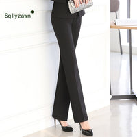Large Size Work Wear Pants Trousers Female Professional Middle Waist Straight