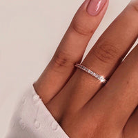 Ailend single row crystal ring rose gold and silver hand jewelry couple ring