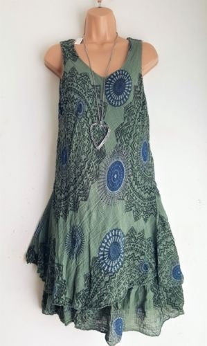 Bohemian Style New Soft Sleeveless Printing A-Line Dress For women Boho Loose Causal Dress Plus Size Beach Sundress