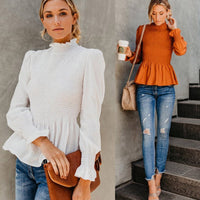 sleeve stand neck women blouse Ruffle pleated blouse shirt Autumn winter