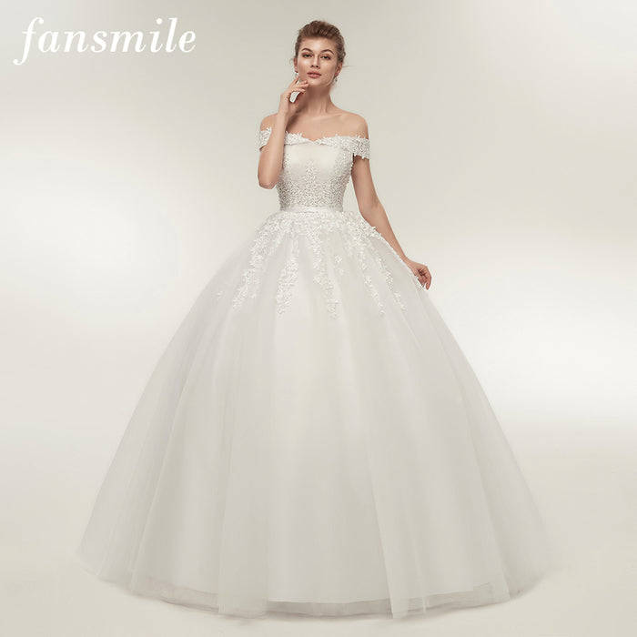 Fansmile Vestido de Noiva Vintage Lace Tulle Ball Wedding Dresses Plus Size