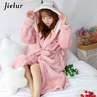 Jielur Coral Velvet Bathrobe Women Cartoon Cute Warm Hooded Robe Ladies Casual Rabbit Flannel Kimono Bath Robes Dressing Gowns