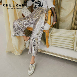 Pants Ankle Wide Leg Pants Women Spring Summer Loose High Waist Trousers Glitter Pants Woman Fashion