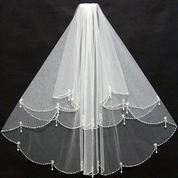 Elegant Short Ivory Bridal Veils Beading Edge Ruffles with Insert Comb Cheap