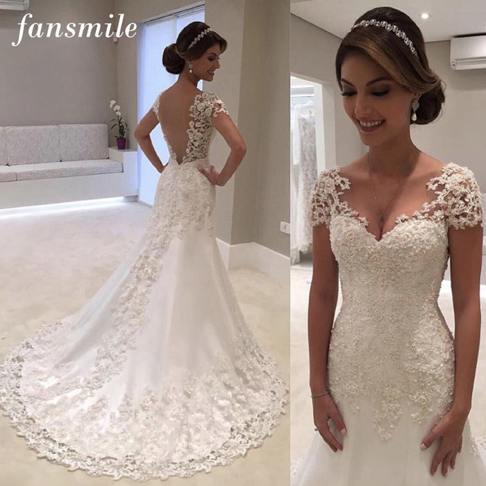 Fansmile Illusion Vestido De Noiva White Backless Lace Mermaid Wedding Dress