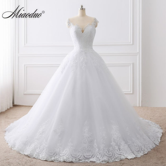 Ball Gown White Wedding Dress Lace Appliques Bridal Gowns Vestido De Novias