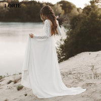 LORIE Beach Wedding Dress Long Sleeve Boho V Neck Open Back bridal dresses