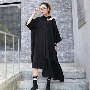 [EAM] 2019 New Spring Summer Lapel Long Sleeve Hollow Out Loose