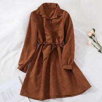 Mferlier Winter Chic A Line Dress Turn Down Collar Long Sleeve Thin Sashes