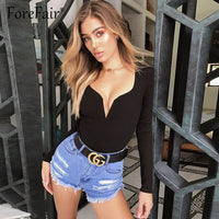 Forefair Sexy Bodysuit For Women Body Top 2019 Spring Autumn Black White Casual Body Woman Skinny V Neck Long Sleeve Bodysuits