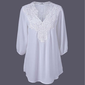 New Spring Summer Women Blouses Lace Chiffon Hollow V-neck Shirts