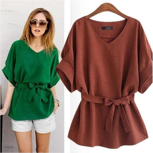 Women Blouses Linen Tunic Shirt V Neck Ladies Blouse Female Top For Tops