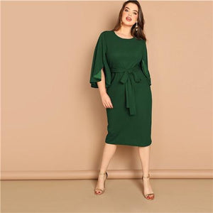 Bell Sleeve Pencil Dress With Belt Women Clothing Summer Korean Elegant Midi Dresses