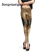 Bangniweigou Gold PU Snake Python Leggings Glitter Shiny Look Mesh Buckle Splicing Ankle Length Slim Pants Faux Leather Leggings