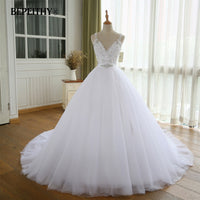 BEPEITHY V Neck Vintage Wedding Dress With Belt Vestido De Novia Casamento