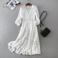 Ordifree 2019 Summer Women Long Tunic Beach Dress Sundress Long Sleeve White Lace Sexy Boho Maxi Dress