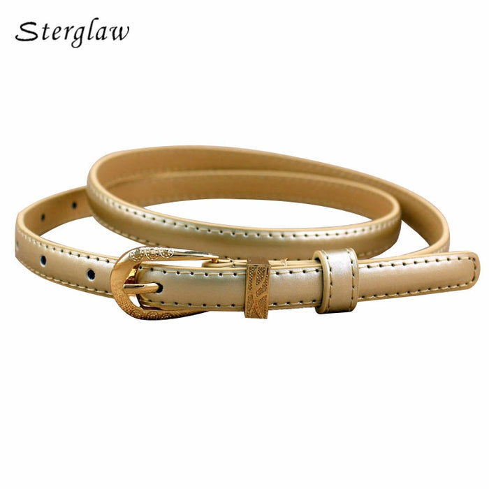 Hot Sale Women Adult Pu Casual Pin Buckle Female Pinceis Leather Belt Women's 2019 High Quality Narrow For Jeans 100cm F122