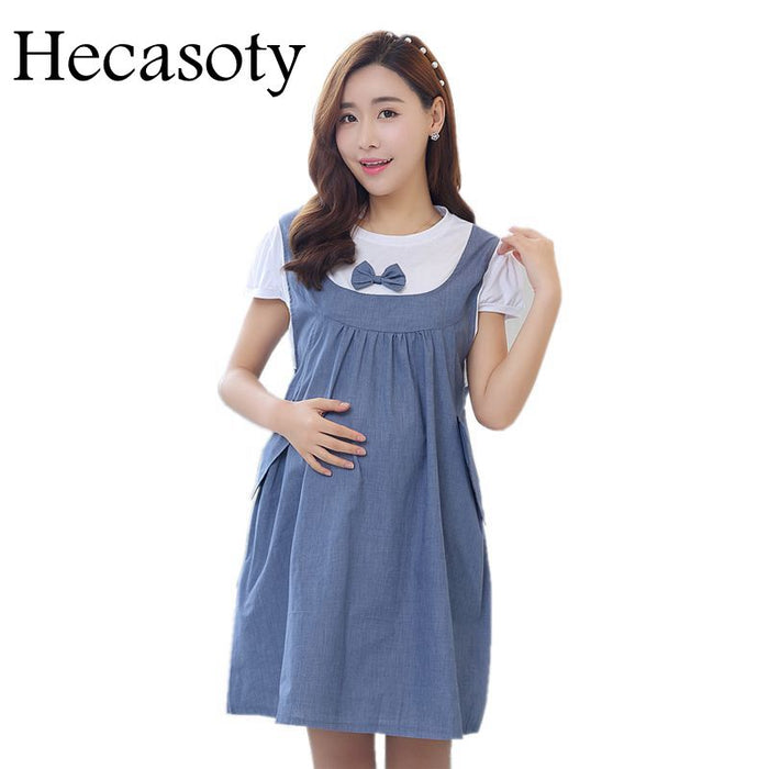 Maternity Clothes 2018 New Summer Bow Patchwork Loose Casual Dress