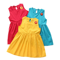 Pure Cotton Flower Solid Girls Dress Classic round neckline Children Summer Fashion Dress Princess Dress
