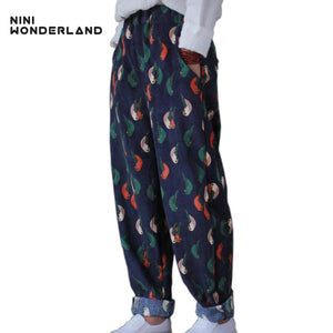 NINI WONDERLAND Classic printed corduroy casual trousers for women printing loose