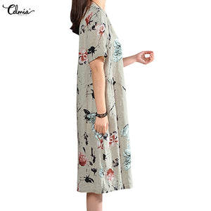 Celmia 2019 Vintage Summer Dress Short Sleeve Loose Women Elegant Floral Print Midi Dresses Casual Party Beach Sundress Vestidos