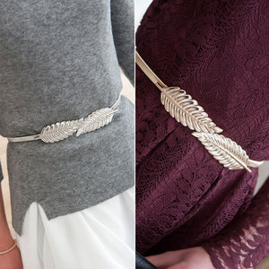 Leaf Shape Belt Metal Leaves Cummerbund Clasp Front Stretch Waistband Gold Silver Elastic Waist Belt Leaves Chain Belts
