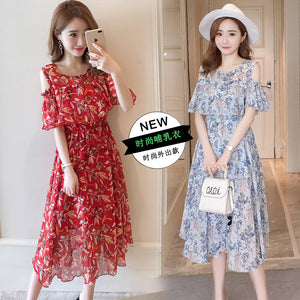 9226# Floral Printed Chiffon Maternity Nursing Dress Summer Fashion