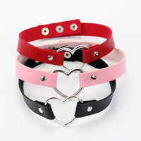 Leather Punk Heart Studded Choker Necklace Rivet Buckle Collar Necklace Gift
