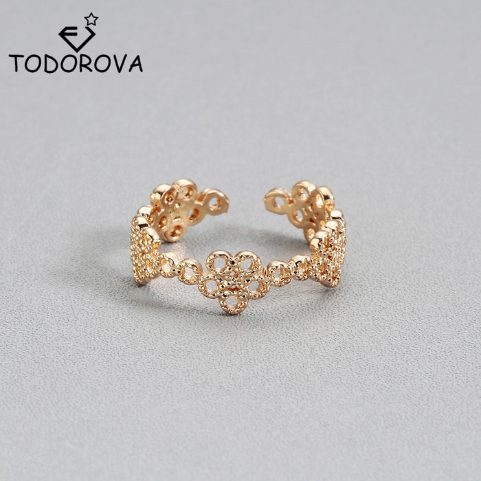 Todorova Vintage Small Daisy Flower Joints Rings for Ladys Beach Jewelry Retro Infinity Adjustable Toe Ring Women Rings