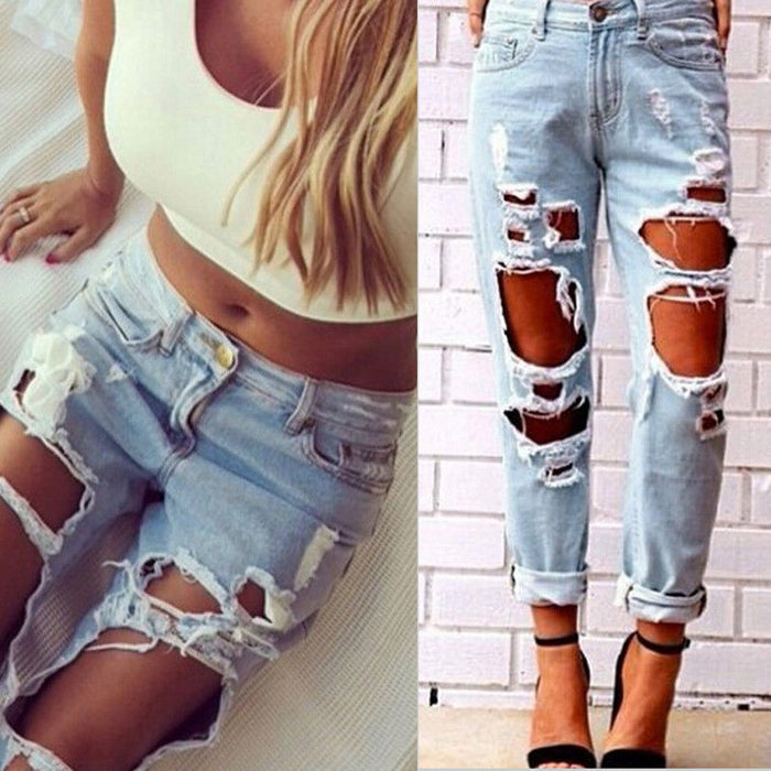 Sexy Women Ladies Summer High Waist Jeans Destroyed Ripped Distressed Slim Cool Denim Pants Boyfriend Trousers Blue