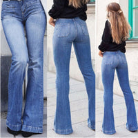 Spring Vintage Jeans Women's Slim High Waist Denim Pants Flared Trousers Long Bell Bottom Jeans A-015