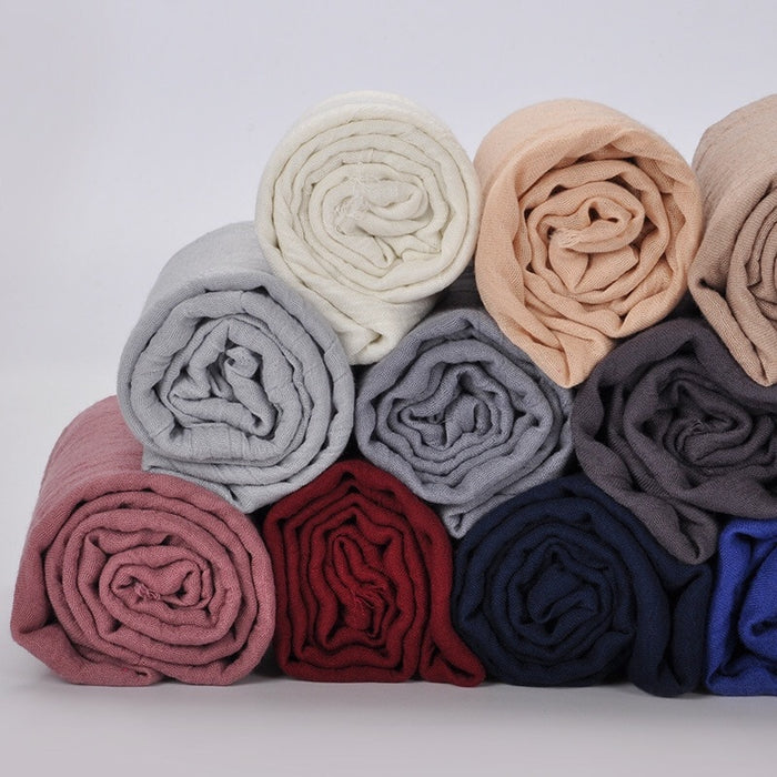Women Chiffon Shawl Solid Color Fashion Wrap Scarf Muslim Arabic Scarves Hijab Instant Shawl Bawal 180x90cm 2019 New