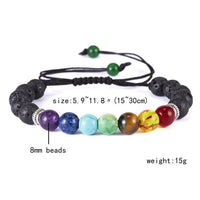 Classic Chakra 8mm Lava Stone Beads 7 Color Chain Bracelets for Women Men