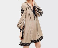 Khale Yose Long Sleeve Ethnic Dress Tassels Boho Hippie Chic Women Embroidery
