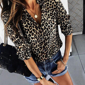 Chiffon Blouse For Women Sexy Leopard Printed Shirts Spring Long Sleeve Tops Blouse