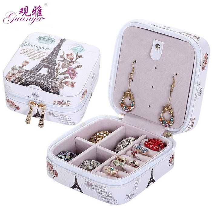 2019 Classical  High Grade Fashion Printed Leather Jewelry Box Protable Jewelry Casket  7 Color Love Gift Choice Cosmetic Box