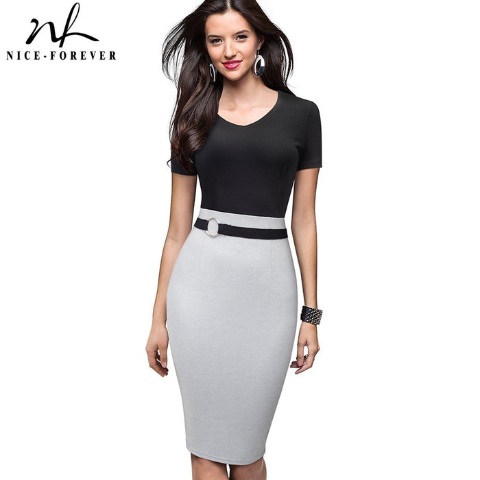 Nice-forever Vintage Elegant Contrast Color Patchwork Work Ring vestidos Business Party Bodycon Office Women Sheath Dress B497