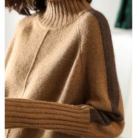 BELIARST Autumn and Winter New High Collar Pullover Sweater Women's Long Section Cashmere Shirt Bag Hip Split Loose Loose Thick
