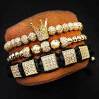 3pcs/set Men's Bracelets men's popular jewelry crown pendants inlaid with zircon
