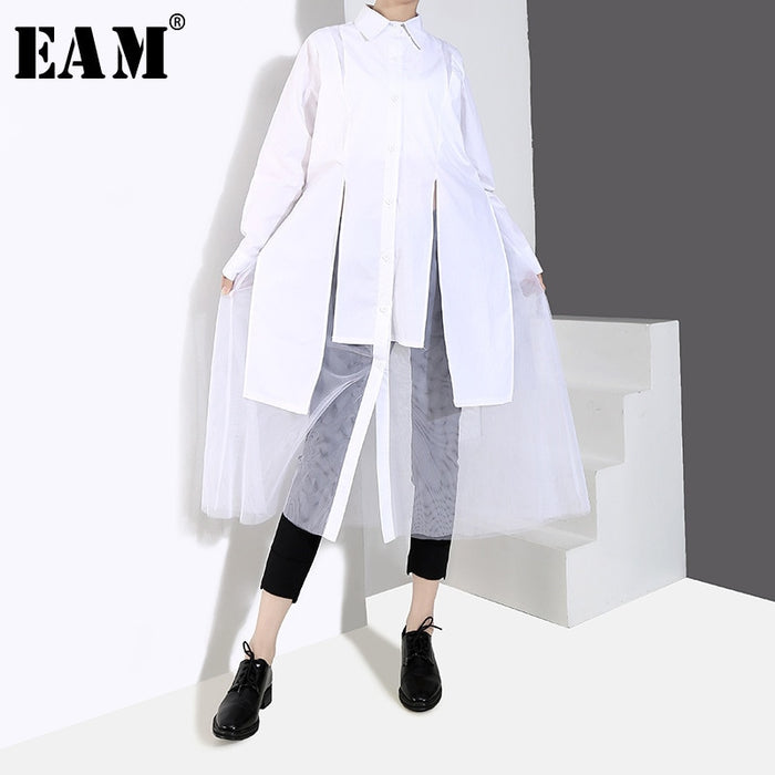 [EAM] 2019 New Spring Summer Lapel Long Sleeve White Loose Irregular