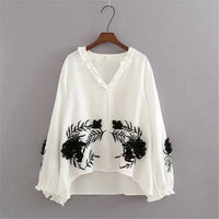 Embroidered blouse hippie boho clothing chic top female tunics for beach
