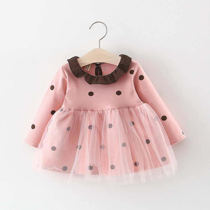 Bibicola baby girls dresses infant toddler girl dot print mesh dress 2019 spring autumn newborn fashion long sleeve dress
