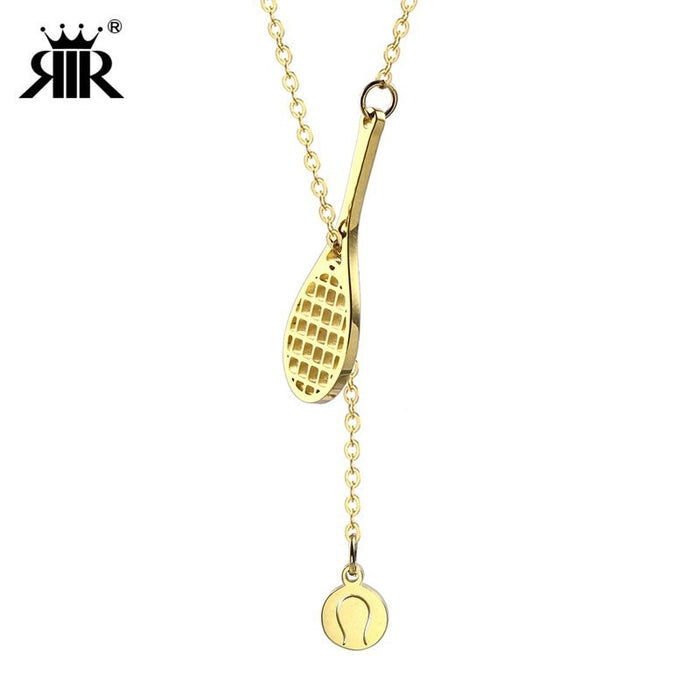 RIR Active Sport Jewelry Lariat Style Silver and Gold Color Tennis Racket and Ball Necklace For Beautiful Women As Gift